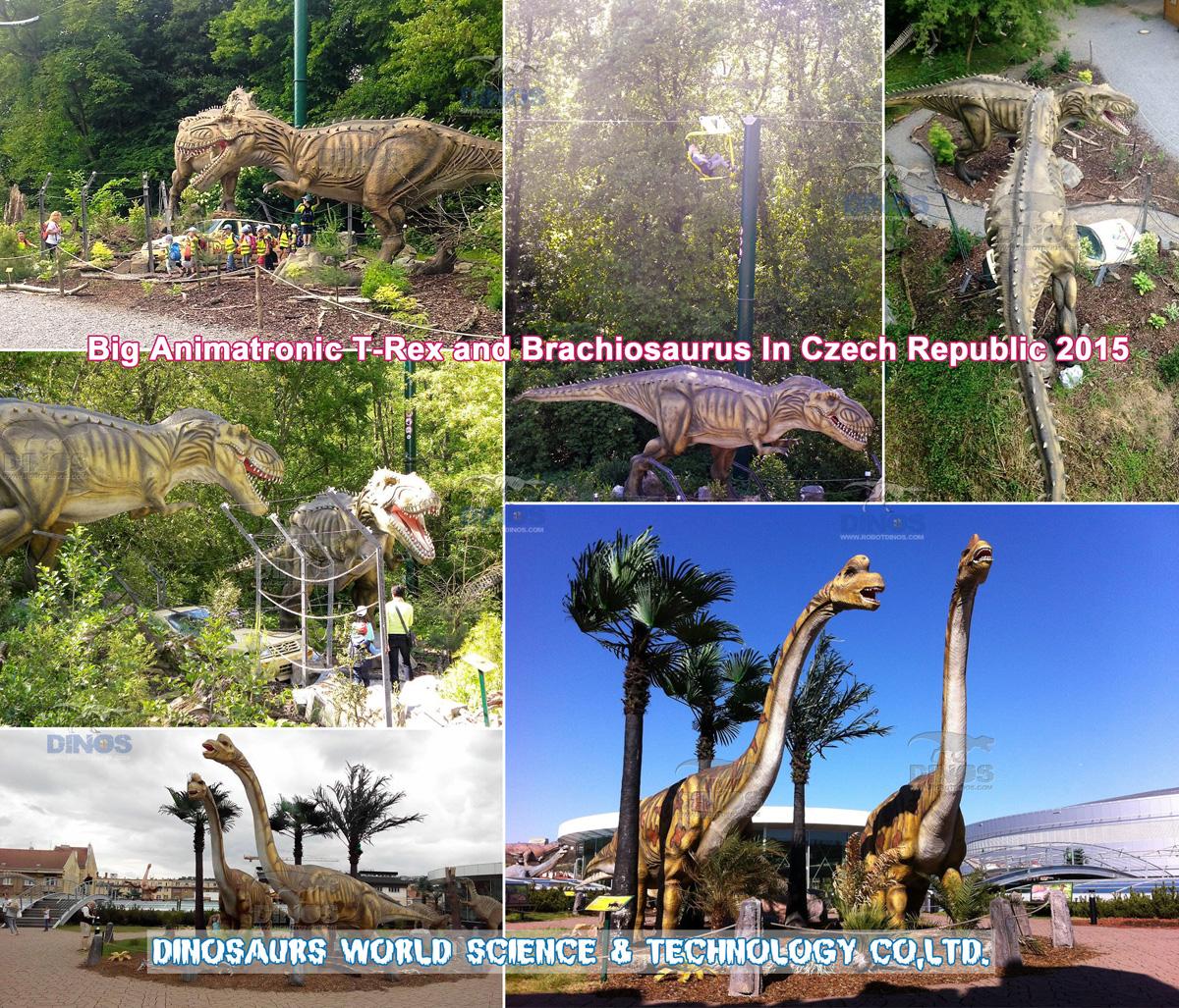 Veliki animatronični dinosauri nakon instalacije u parku dinosaura