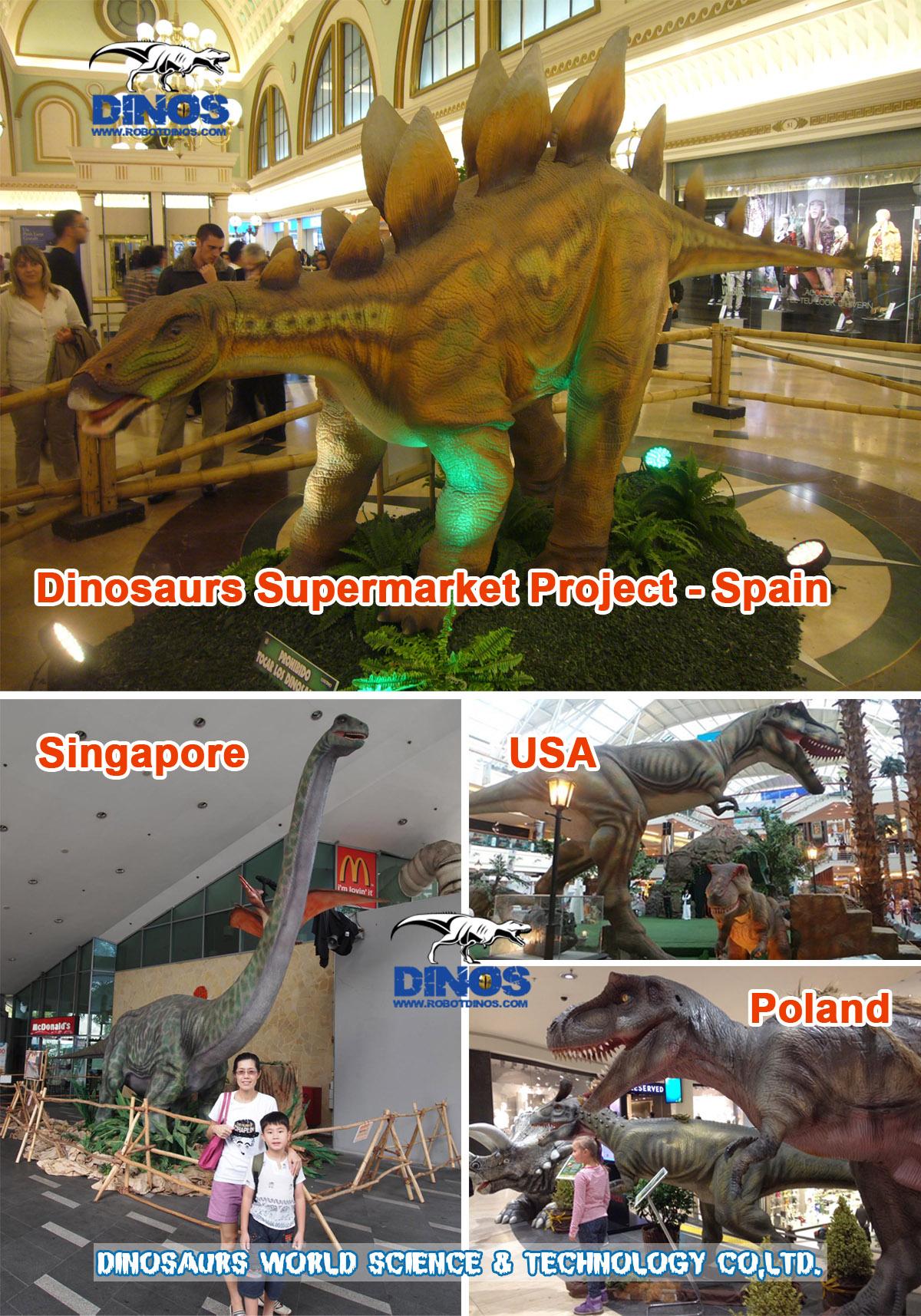 animatronic dinosaurs,supermarket dinosaurs,supermarket attraction