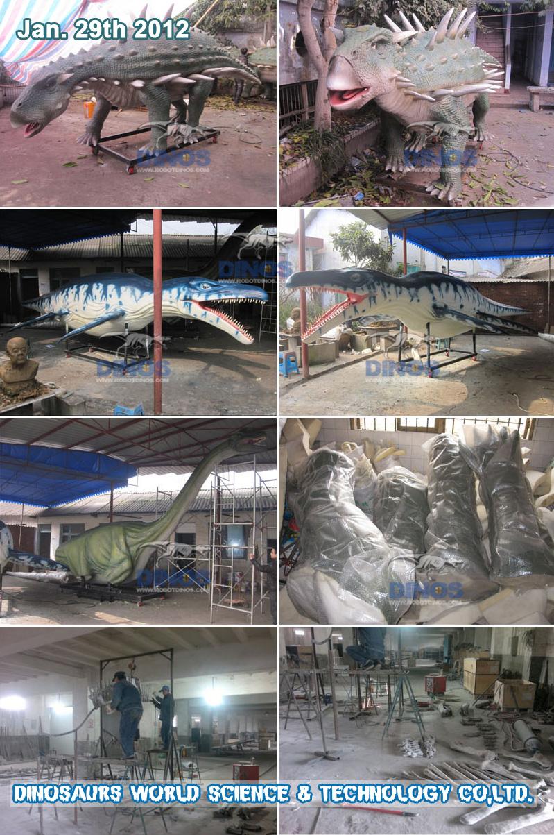 Pakiranje svih Animatronic dinosaura i kostura dinosaura u tvornicu