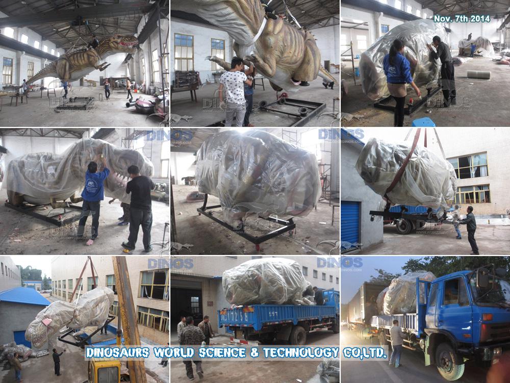Pakiranje i prijevoz Animatronic dinosaura od tvornice do Češke