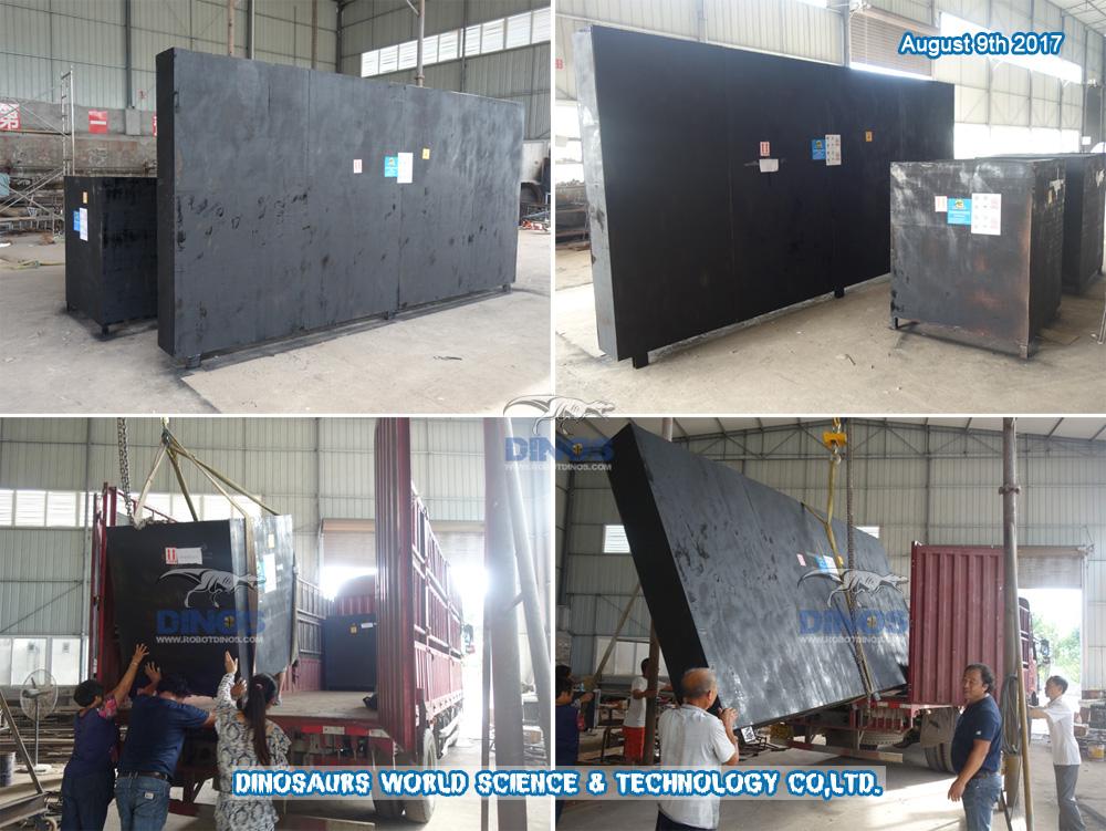 T-Rex (kopanje fosila) i ljuska jajeta transportirani od tvornice do luke Shenzhen 9. kolovoza 2017.