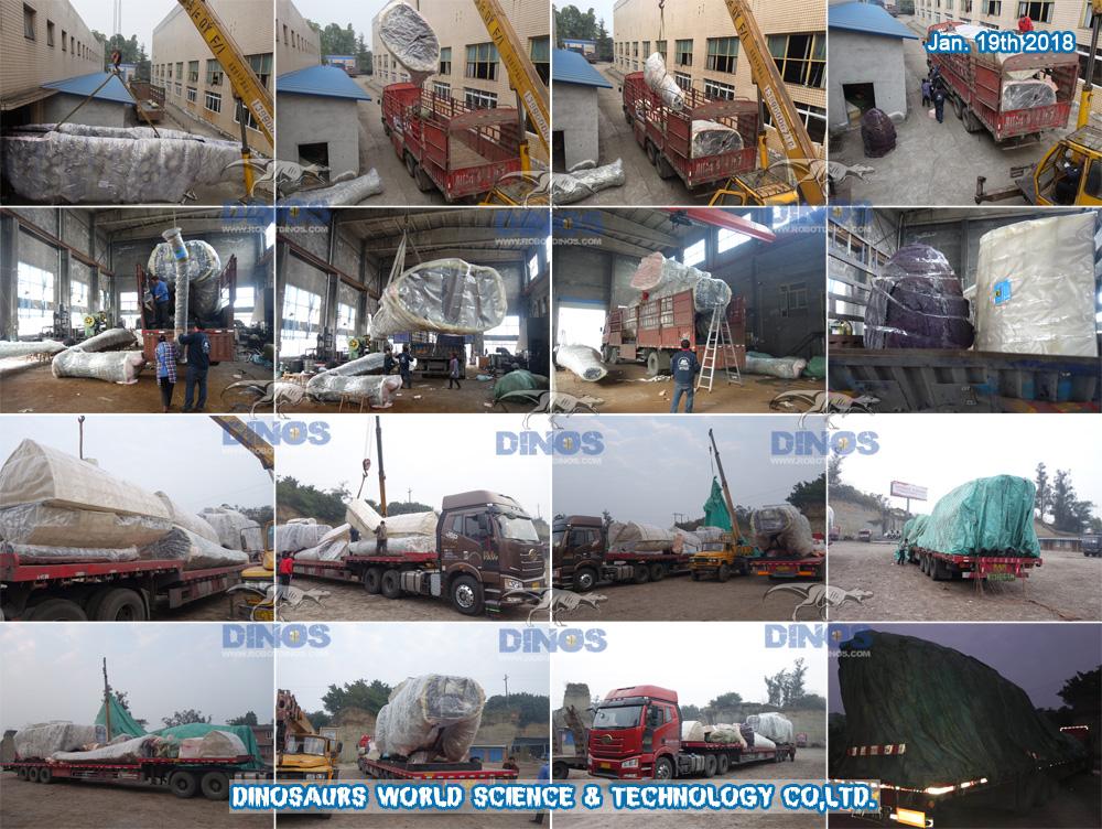 Treći (C) i Četvrti (D) Ogromni argentinosaurus prevezen iz tvornice u luku Shenzhen 19. siječnja 2018.